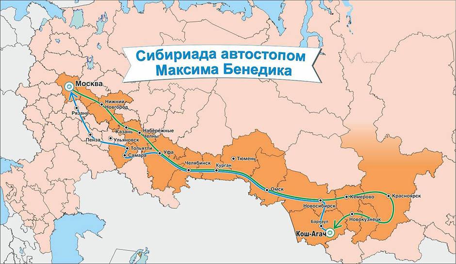 Сибириада автостопом Максима Бенедика